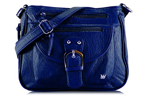 Purse King Pistol Concealed Carry Handbag (Navy Blue), Medium