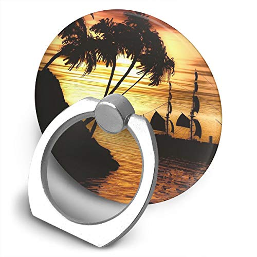 (Round Finger Ring Cell Phone Holder Boat Sunset 360 Degree Rotating Stand Grip)