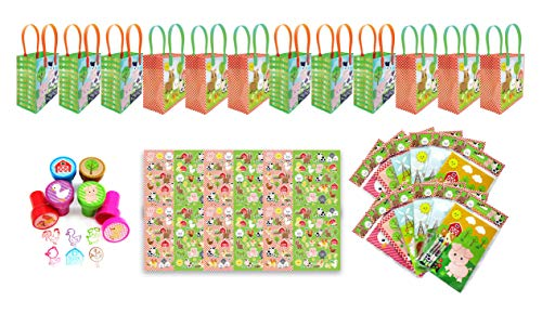 TINYMILLS Farm Animals Birthday Party Favor Set of 60pcs (12 Treat Bags, 24 Stampers, 12 Sticker Sets, 12 Coloring Books with crayons) ()
