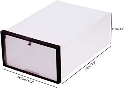OurLeeme Caja de Almacenamiento de Zapatos, 11.2 * 7.9 * 4.3 Organizador Transparente Transparente apilable de plástico Transparente para contenedores Ideal para Viajes (Negro): Amazon.es: Hogar