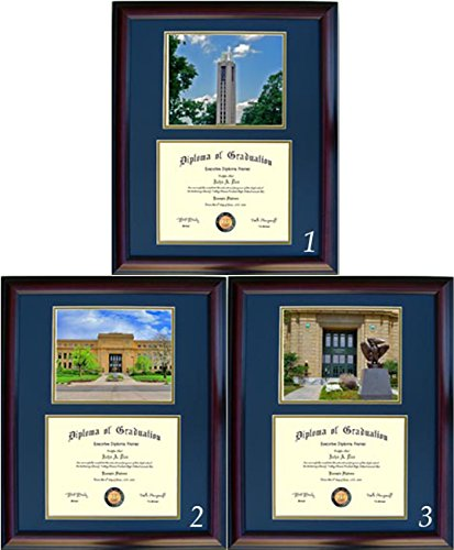 Kansas Diploma Frame - Photo Option #3 - Walnut Frame
