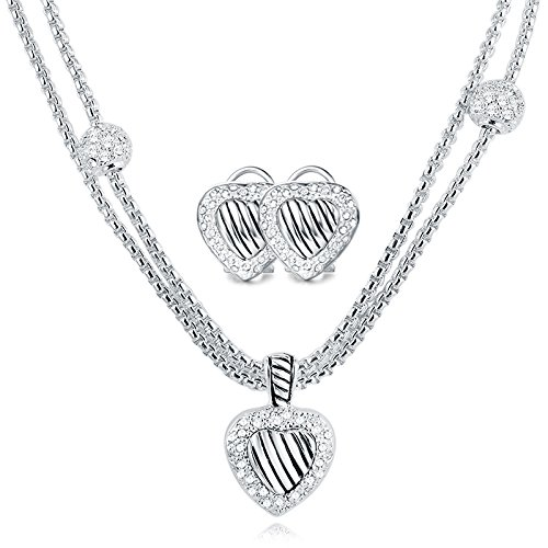 Designer Inspired Necklace Set (UNY designer Inspired Classic Elegant Cable wire heart women jewelry sets short Necklace 40cm and Earring)