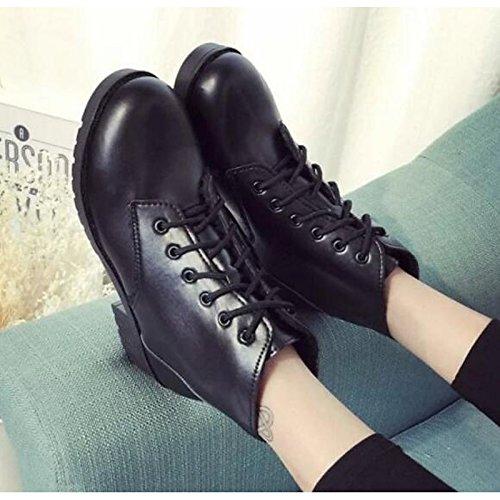 Round pu donna stivaletti Black la Scarpe HSXZ di moda Casual molla tacco per Toe rientrano piatto Stivaletti Stivali comodità Nero Stivali scarpe lacci w6qEq5
