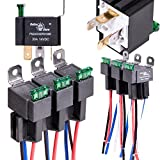 ONLINE LED STORE 6 Pack 30A Fuse Relay Switch Harness Set - 12V DC 4-Pin SPST Automotive Relays 14 AWG Hot Wires