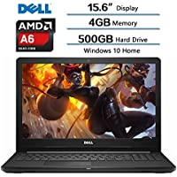 Dell Inspiron 15.6 (1366x768) LED Laptop, AMD A6-9200 accelerated Processor, 4GB DDR4 SDRAM, 500GB HDD 5400RPM, AMD Radeon R4 Integrated Graphics, Win10, Webcam, DVD-RW