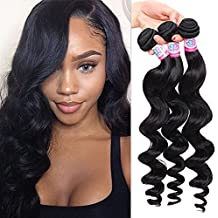 Mike & Mary Hair Brazilian Virgin Hair 3 Bundles Loose Wave 300g Unprocessed Natural Color Human Hair Weave (22 22 22inch, Natural Color)