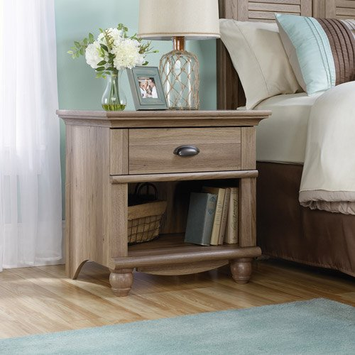 Salt Oak Wood Night Stand Tabke with Drawer and Open shelf M