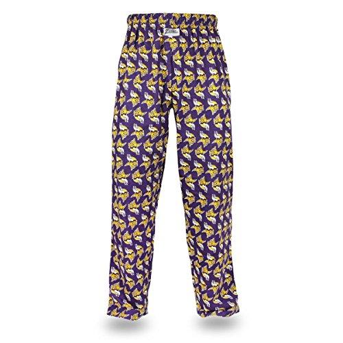 NFL Minnesota Vikings Men's Zubaz Team Logo Print Comfy Jersey Pants, Large, Purple