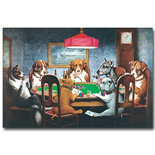 LIEFENGDAO Decorative Paintings Dogs Playing Poker Cards Art Silk Fabric Poster Print 13X20 20X30Inch Funny Pictures Home Wall Decor,20X30 ()