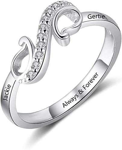 Sterling Silver Infinity Knot Ring with Personalized Engraving by JEWLR