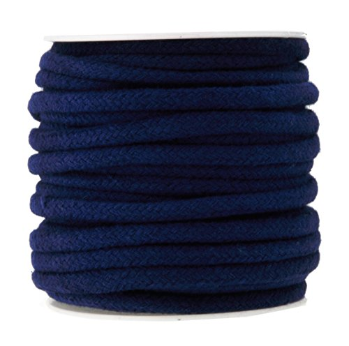 Mandala Crafts Soft Drawstring Replacement Rope Upholstery Crochet Macramé Cotton Welt Trim Piping Cord (Navy Blue, 6mm) ()