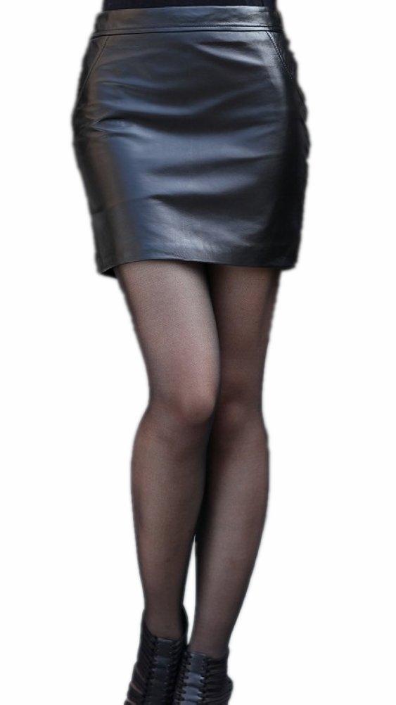 Queenshiny Women's Real Sheep Leather Short Skirt Miniskirts-Black-S(4-6)