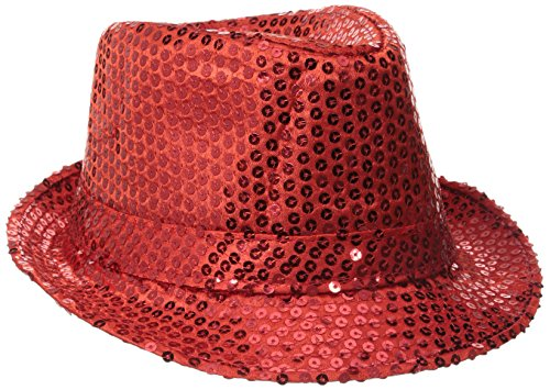 Be Wicked Women's Sequin Fedora Hat, Red, One -