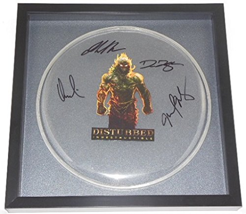 Disturbed Indestructible Group Signed Autographed Drum Drumhead Framed Loa from Star Gallery