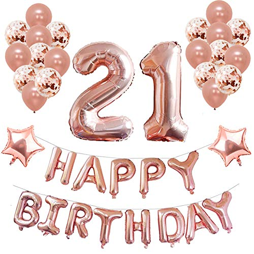 21st Birthday Party Decorations, Puchod 21st Foil Balloons Birthday Party Decorations Banner Supplies Set Gold Confetti Balloons for -