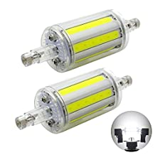 2 Pack, R7S 78mm COB LED Bulbs - Daylight 6000K - 8W / 600LM - Not Dimmable - AC85-265V - J Type Double Ended 70W R7S J78 Halogen Bulb Replacement