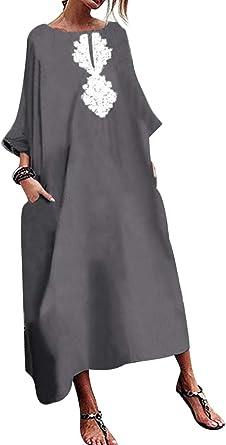 Mujeres Vintage Vestidos Holgados Lino Algodón Verano Casual Más Tamaño Maxi Vestido: Amazon.es: Ropa y accesorios