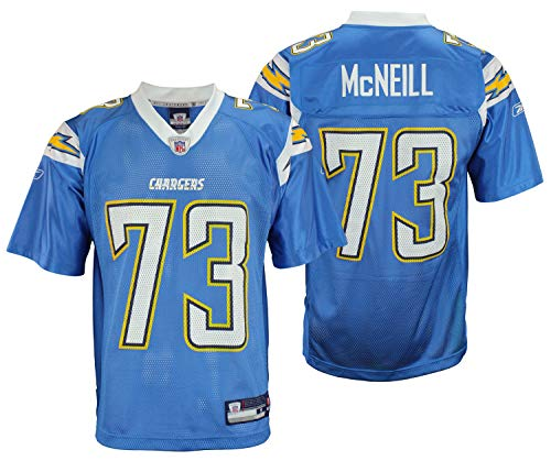 San Diego Chargers Marcus McNeill #73 NFL Mens Alternate Replica Jersey, Light Blue (Small)
