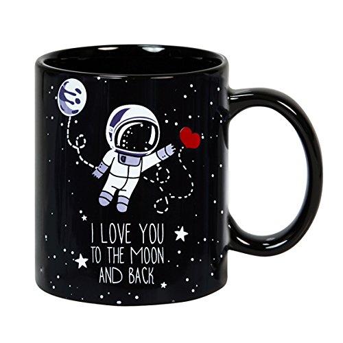 """Tasse mug petit-déjeuner de cerámique noire 32 cl. """"I love you to the Moon and Back"""" en anglais modèle To the Moon"""