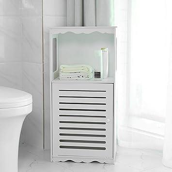N /A - Armario de baño de madera con 3 estantes, color blanco ...
