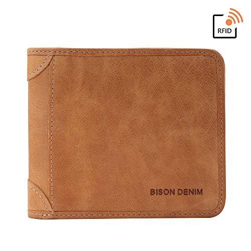 BISON DENIM RFID Blocking Bifold Wallet Front Pocket Genuine Leather Wallets Thin Credit Card Holder for Mens (Two Currency Pockets)
