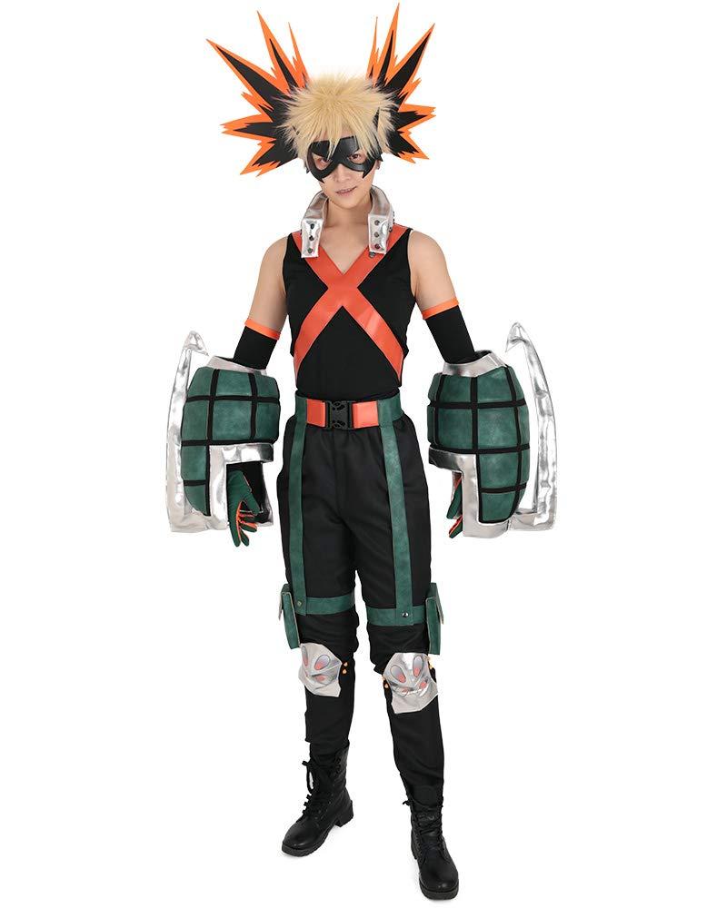 Men's Katsuki Bakugou Hero Cosplay Costume with Gauntlets