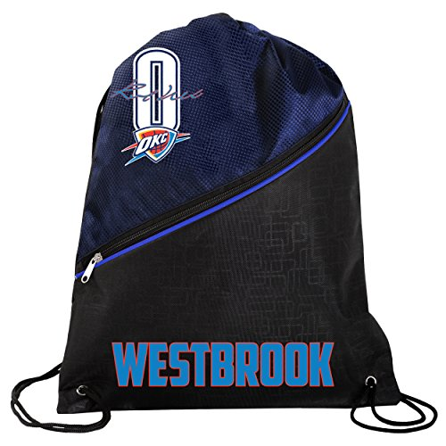 FOCO Oklahoma City Thunder Official High End Diagonal Zipper Drawstring Backpack Gym Bag - Russell Westbrook #0 by FOCO