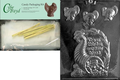 Cybrtrayd MdK50T-T001 Give Us This Day Thanksgiving Chocolate Mold with Chocolate Packaging Kit, Includes 50 Cello Bags, 50 Gold Twist Ties and Chocolate Molding Instructions