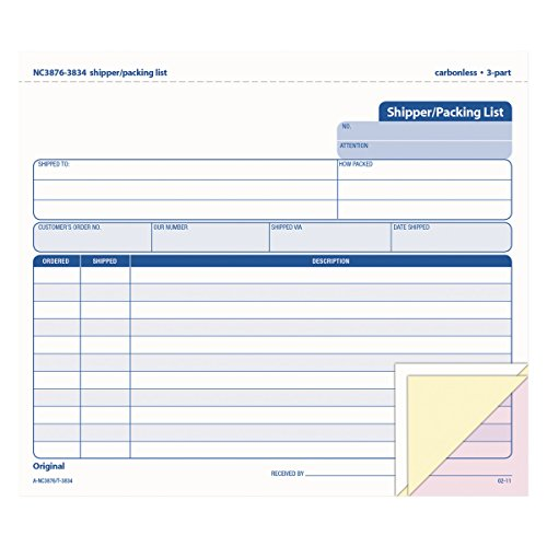 TOPS Shipper/Packing List Form, Triplicate, Carbonless, 8.5 x 7 Inches, 50 Sets per Pack (3834)