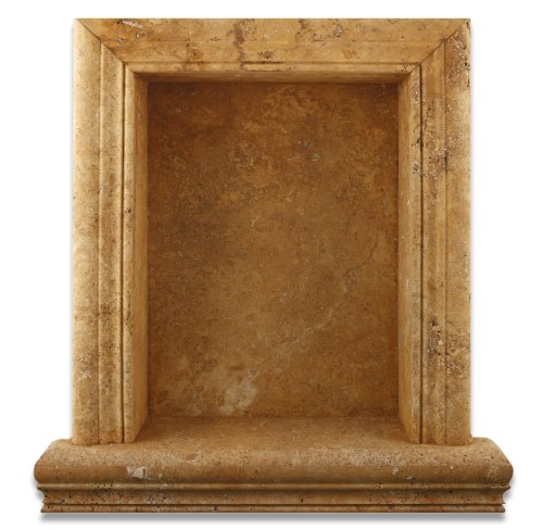 Gold / Yellow Travertine Hand-Made Honed Shampoo Niche / Shelf - LARGE by Oracle Moldings
