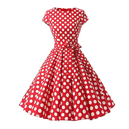 Women's Vintage Polka Dot Printed 1950s Audrey Retro Rockabilly Prom Dress 50's 60's Cap Sleeve A-Line Cocktail Party Bandage Swing Tea Dress Formal Dance Evening Gown Red ()