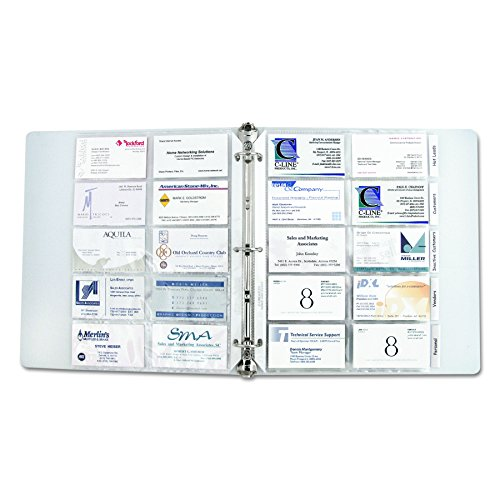 C-Line Business Card Holder Pages, Poly without Tabs, 20 Cards/Page, 11 x 9 Inches, 10 per Pack (61217)