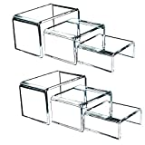Clear Acrylic Risers for Display – 2 Sets of 3 Showcase Shelf for Figures, Buffets, Cupcakes and Jewelry Display Stands – Extra Thick and No Sticky Protective Film by Art of Acrylic