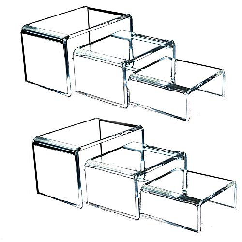 Clear Acrylic Risers for Display - 2 Sets of 3 Showcase Shelf for Figures, Buffets, Cupcakes and Jewelry Display Stands - Extra Thick and No Sticky Protective Film by Art of Acrylic -