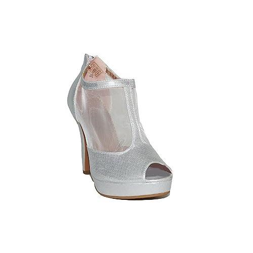 QUNHUI - QUNHUI Botin Fiesta A2281 Botines Fiesta Tacón Mujer Plata Plateados Elegantes Noche con Plataforma Moda Sandalias Zapatos - Plateado, ...