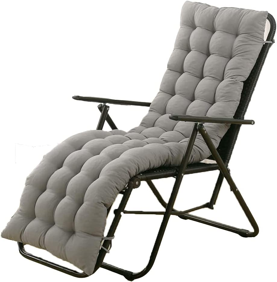 Sun Lounger Chair Cushions, Sundlight Patio Cushions Chaise Outdoor Mattress Garden Recliner Quilted Thick Padded Seat Cushion Reclining Chair Rocking with Ties (Grey, 155x48x8cm/61x18.89x3.14inch)