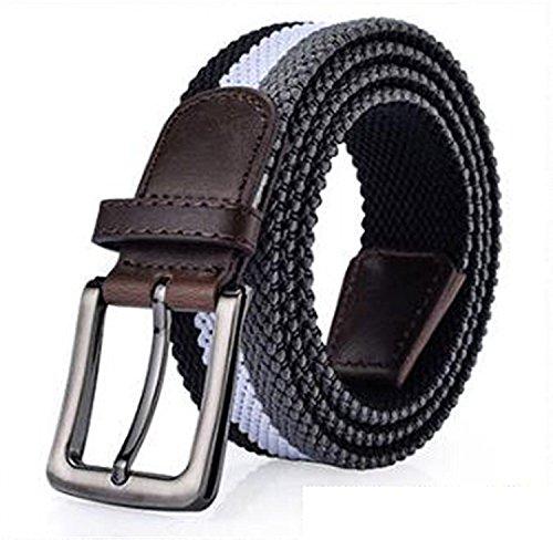 Leng Fashion New Stretch Women Canvas Belts For Men Elastic Belt Pin Buckle Universal Trouser Pockets 6 Colors Black105cm