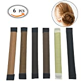 OR Pure 6pcs Bun Maker DIY Hair Styling ,Disk Hair Maker Clip Curler Roller Tool Hair Donut ,French Twist Donut Bun Hairstyle Tool ,Updo Wrap Snap Fold for Girl Ladies