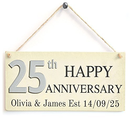 Cheyan Funny Plaque Gift 25th Happy Anniversary Custom Your Name and Date Outdoor Door Wooden Sign Wall Plaque Decoration ()