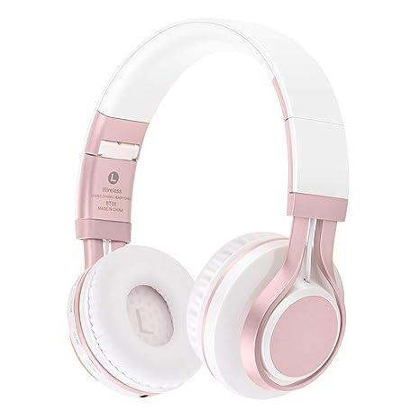 KINGCOO Over-oreja Auriculares Plegables Inalambricos Bluetooth soporte Tarjeta MicroSD Radio FM Microfono Manos Libres (Rosa)