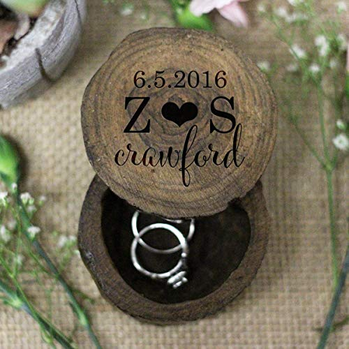 - Rustic Personalized Wooden Wedding Ring Box Keepsake With Established Date