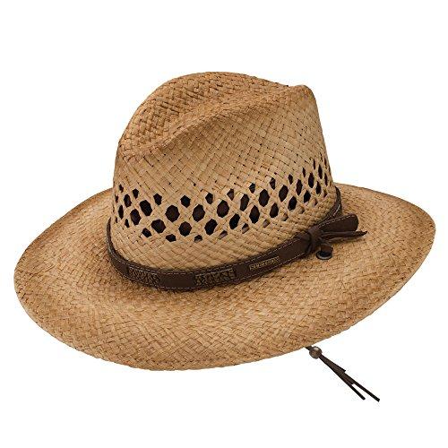 Hat Straw Cowboy Fedora (Stetson & Dobbs Men's Lake Placid Straw Cowboy Fedora Hat, Natural -)