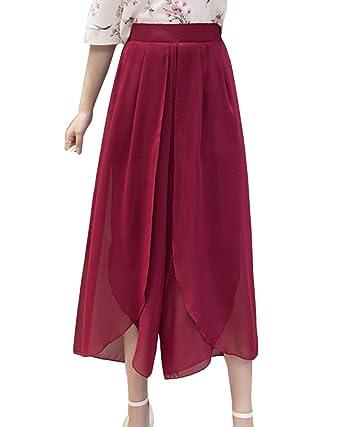 LaoZanA Damen Freizeithose Hohe Taille Elegant Chiffon Weite Bein Leichte  Sommerhosen Culotte Hosen Weinrot XL 9f795f02df