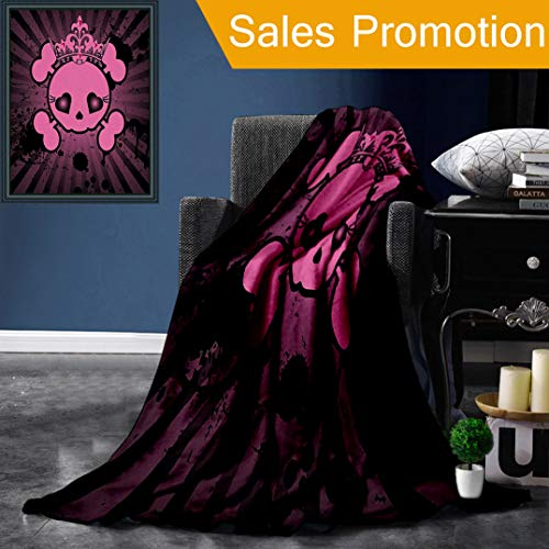 """Unique Custom Flannel Blankets Skulls Decorations Cute Skull Illustration with Crown Dark Grunge Style Teen Spooky Halloween Pr Super Soft Blanketry for Bed Couch, Twin Size 60"""" x 70"""" ()"""