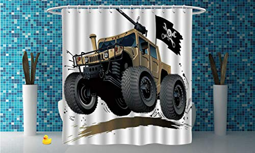 iPrint Fabric Shower Curtain [ Cars,Worldwide Off Road