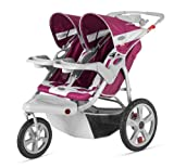 InStep Safari Double Swivel Stroller, Wine/Gray
