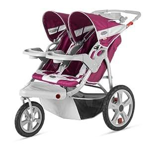 InStep Safari Double Swivel Stroller, Wine/Gray