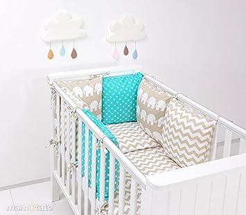 Parure de lit bébé 17 pièces beige et turquoise 60x120 avec tour de ...