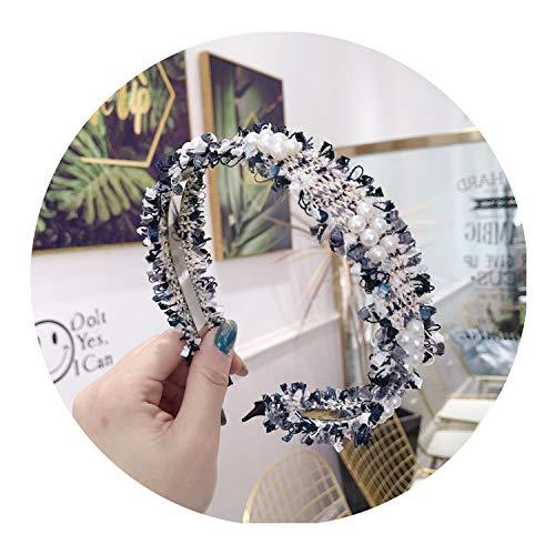 Bond Saucer Coffee (korea Plaid Pearl Hairbands For Girls Hair Band Hair Bows Flower Crown For Women,6)