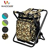 Wacces Multi-Purpose Backpack Chair/ Stool with Cooler Bag for Hiking/Fishing/Camping/Picnicking (Military)